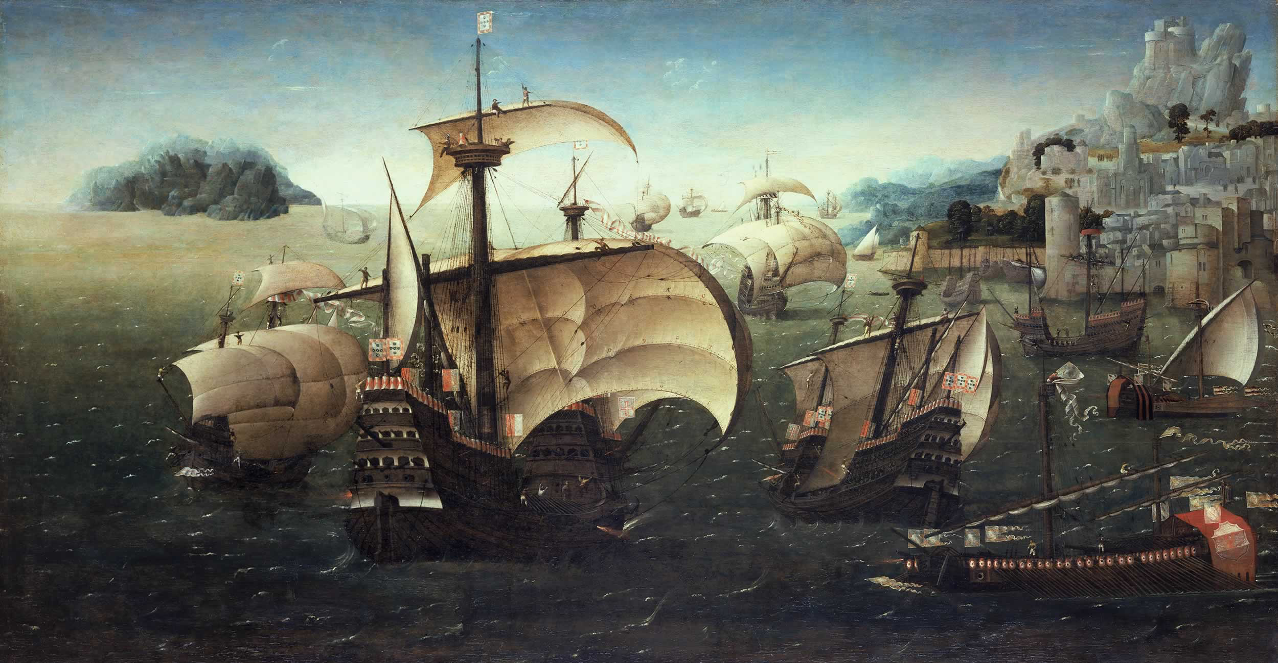 Portuguese Carracks off a Rocky Coast